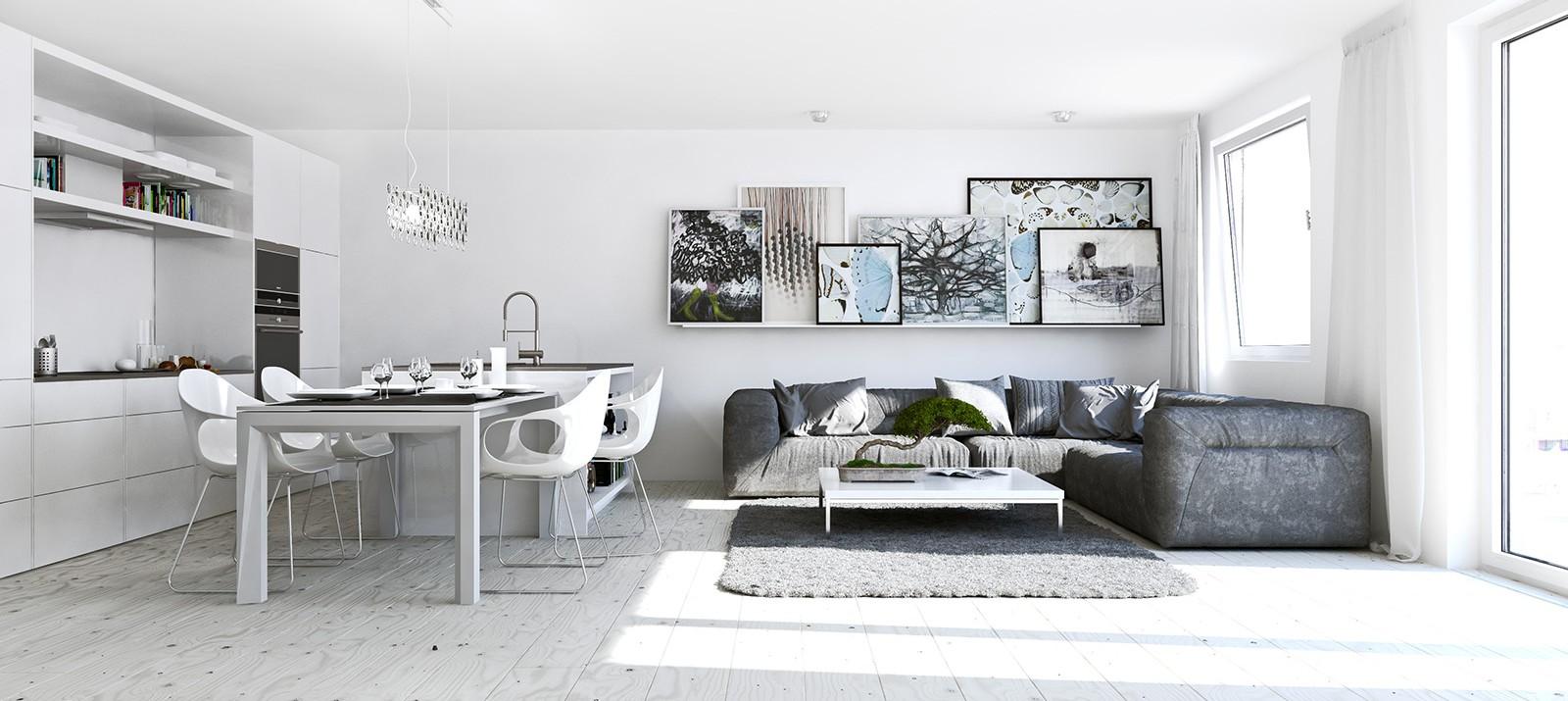Разделяне на дневната от кухнята, без изграждане на обемисти стени